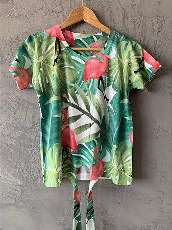 T-shirt Nozinho Flamingo - Tam. Único (M) - Pronta Entrega