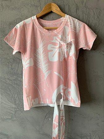 T-shirt Nozinho Pink Palm - Tam. Único (M) - Pronta Entrega