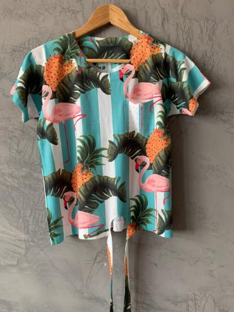 T-shirt Nozinho Flamingos Palm - Tam. Único (M) - Pronta Entrega