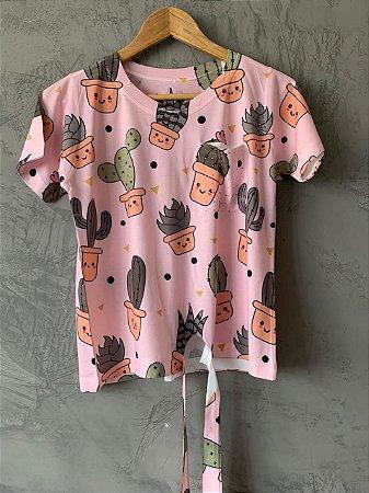 T-shirt Nozinho Pink Cacto - Tam. Único (M) - Pronta Entrega