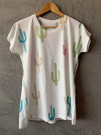 T-shirt Cactos Colors - Tam. (G) - Pronta Entrega