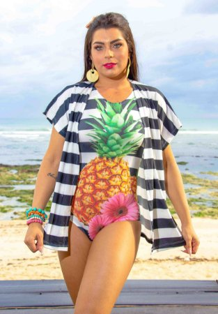 Body + Kimono - ABACAXI - Atacado - Tamanho Único (Body em Suplex / Kimono em Flamê) PRONTA ENTREGA !!!