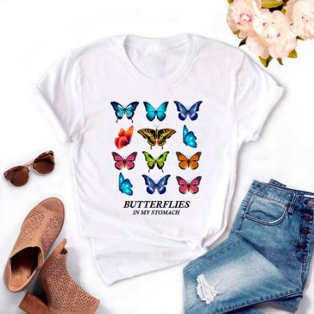 Tshirt Feminina Atacado BUTTERFLIES  - TUMBLR
