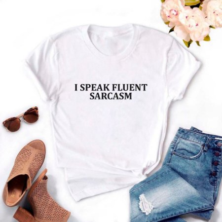 Tshirt Feminina Atacado I SPEAK FLUENT SARCASM  - TUMBLR
