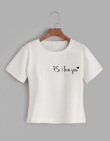T-shirt PS I LOVE YOU- Tam.Único - Pronta Entrega