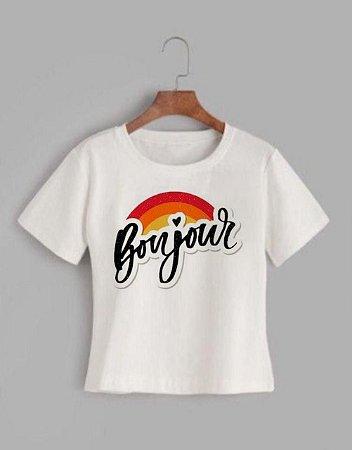 T-shirt BONJOUR - Tam.Único - Pronta Entrega
