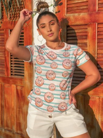 T-shirt DONUTS- Tam.Único - Pronta Entrega - Coleção Florescer
