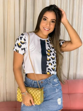 CROPPED - ANIMAL PRINT - Tam.Único - Pronta Entrega