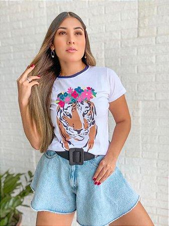 T-shirt LEOPARD FLOWERS  - Tam.Único - Pronta Entrega - Coleção Florescer