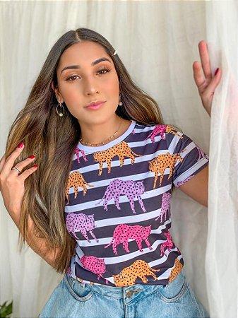 T-shirt LEOPARD COLORS  - Tam.Único - Pronta Entrega - Coleção Florescer