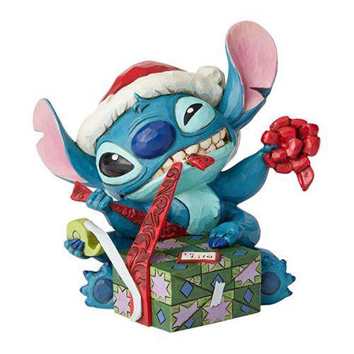 Disney Traditions: Santa Stitch Wrapping Present Statue