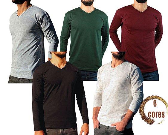 Camiseta Masculina Slim Fit GOLA V Manga Longa - 100% Algodão - 6 Cores