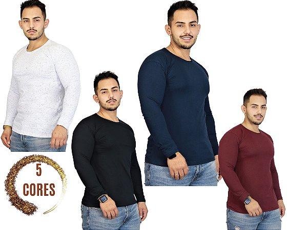 Camiseta Masculina GOLA REDONDA Slim Fit Manga Longa - 100% Algodão - 5 Cores