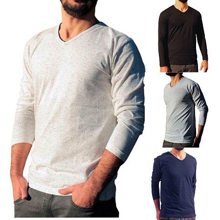 KIT 4 Camiseta Masculina Slim Fit GOLA V Manga Longa - 100% Algodão (1 Branca, 1 Preta, 1 Cinza, 1 Azul)