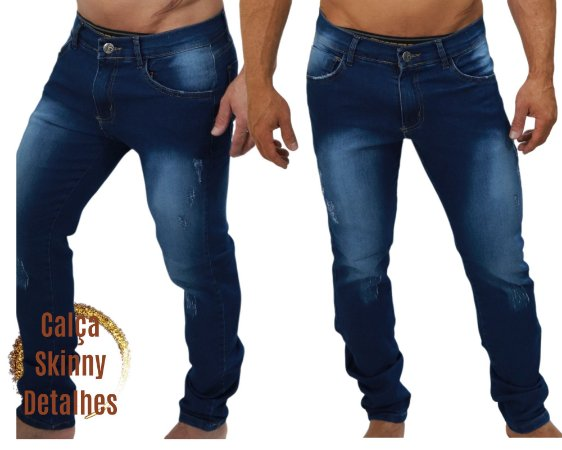 Calça Jeans Masculina Destroyer Fino  Skinny Elastano - Azul