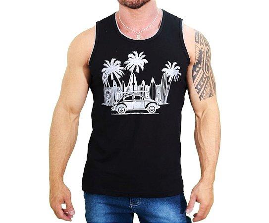 Camiseta Regata PRETA 100% Algodão Hawaian Vibes