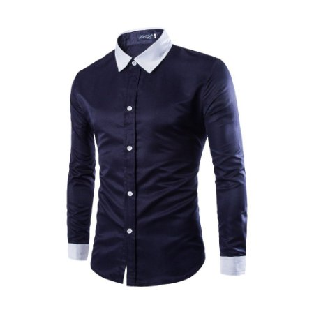 CAMISA SLIM FIT SOCIAL BUSINESS PLAIN AZUL/ Gola & Punho Brancos