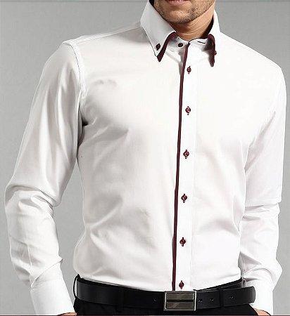 Camisa Social Slim Fit BRANCA - Gola Dupla Devivo Vinho