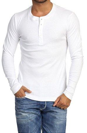 Camiseta HENLEY Classic Slim Fit Manga Longa Gola Redonda BRANCA