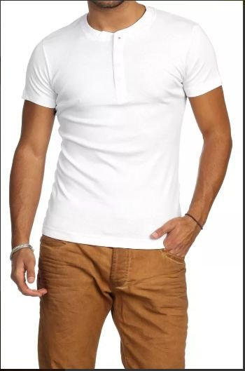 Camiseta HENLEY Classic Slim Fit Manga Curta Gola Redonda BRANCA