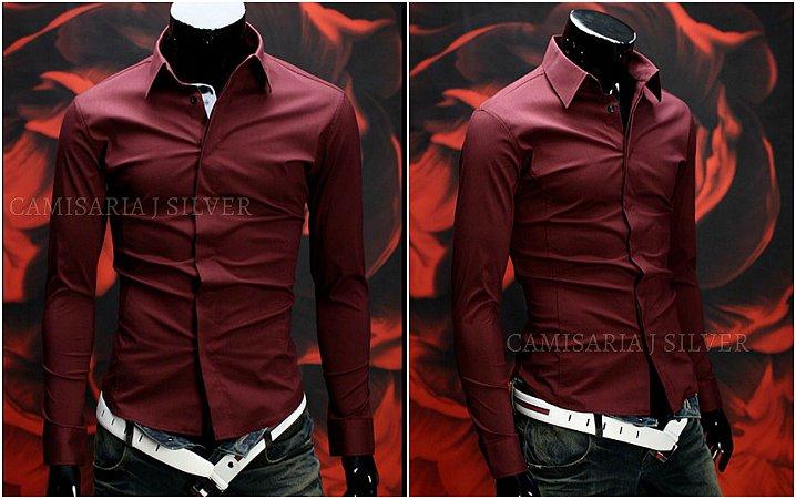 Camisa Slim Fit Clássica Manga Longa - 2 Cores Disponíveis - BRANCA / VINHO