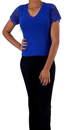 Look Náutica - 1 Calça Bengaline Preta + 1 Blusa Viscolycra MC Azul
