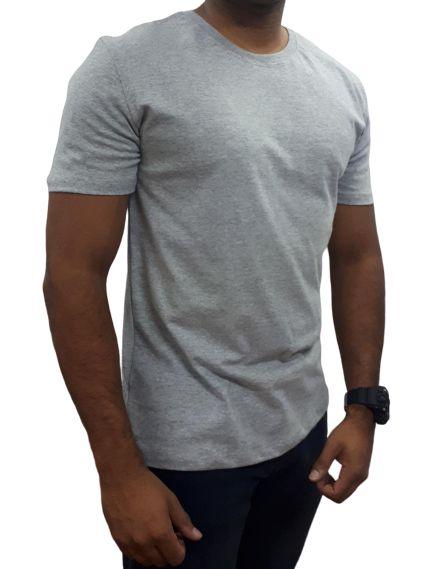 Camiseta Básica Manga Curta - CINZA MESCLA - Últimas Peças