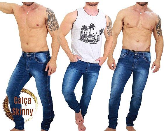 Calça Jeans Masculina Slim Skinny Lycra Elastano - Azul Escuro