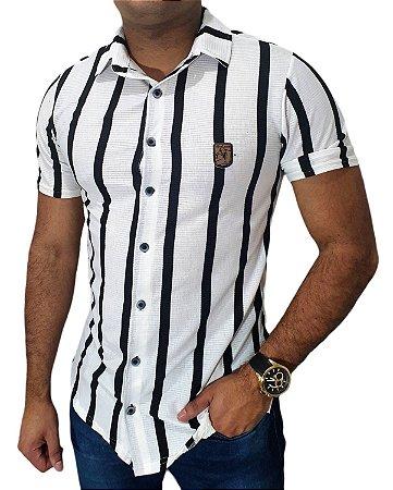 Camisa Casual Masculina Slim Algodão Canelado Black Stripes