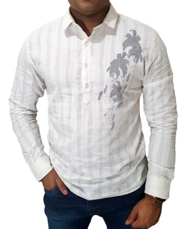 Camisa Casual Linho Branca Com Detalhes 4 Botões Lançamento