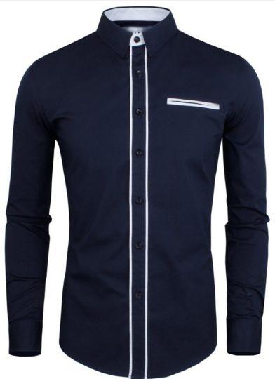 Camisa Slim Voyage Azul Bolso Falso Branco