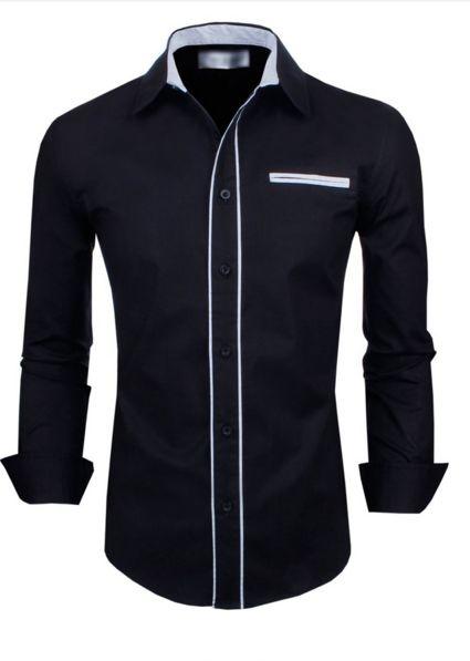 Camisa Slim Voyage Preta Bolso Falso Branco