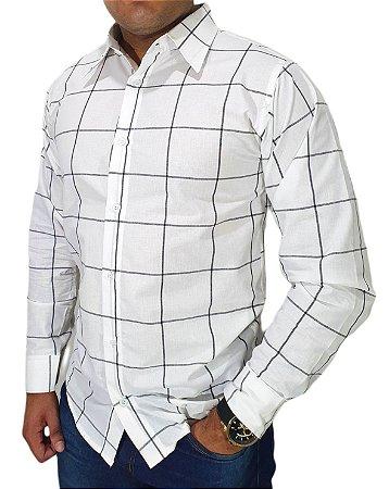 Camisa Masculina BRANCA Slim Fit SQUAD 100% Algodão Detalhes Squares Cinza Escuro