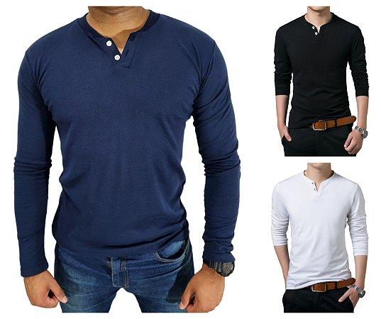 KIT com 3 Camiseta HENLEY  Slim Fit Manga Longa 2 BOTÕES - 1 Branca, 1 Preta, 1 Azul Marinho