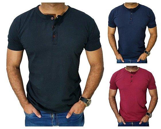 Camiseta Henley Masc JSilver Slim Manga Curta 100% Algodão - 5 cores