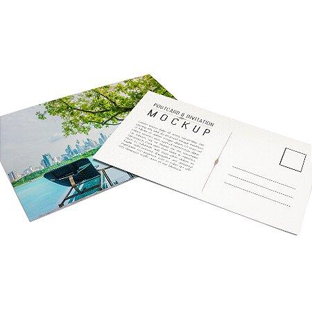 Cartão Postal - Formato 10x15 cm - Papel Couche 300gr - 4x4 Cores - Verniz Total