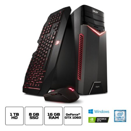 Computador Acer Gamer Torre Aspire Gx-783-br13 Core I7 7700 16gb(2x8gb) 1tb(8gb Ssd) Geforce GTX 1060 6gb Windows 10