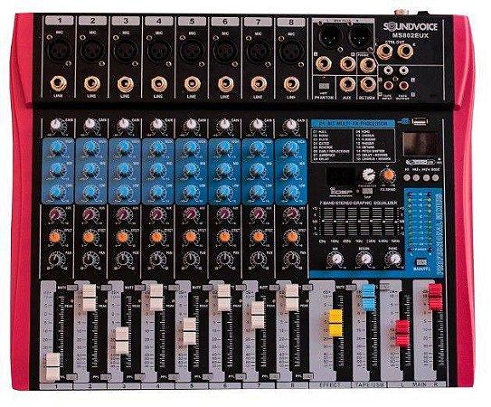 Mesa de Som Soundvoice MS802 EUX 8 Canais