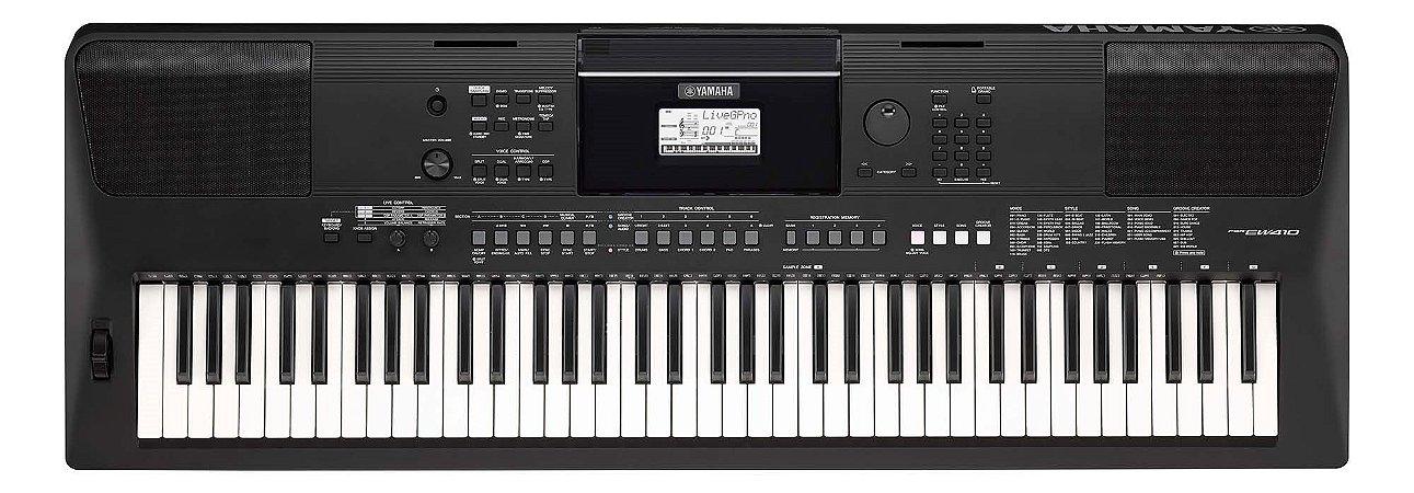 Teclado Arranjador Yamaha PSR-EW410, 76 teclas sensitivas e fonte bivolt