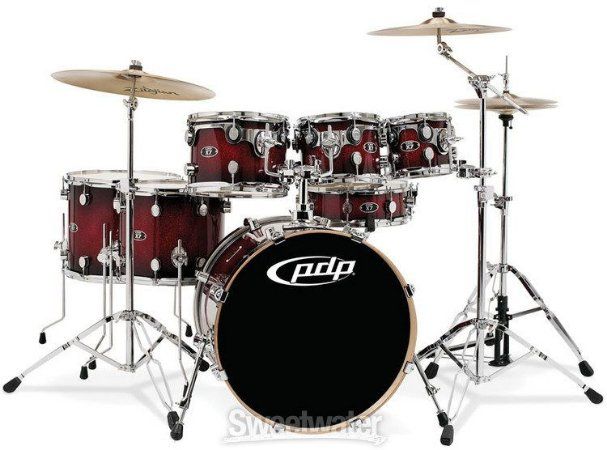 Bateria Pacific PDP PDX722 Red/Black Fade Sparkle