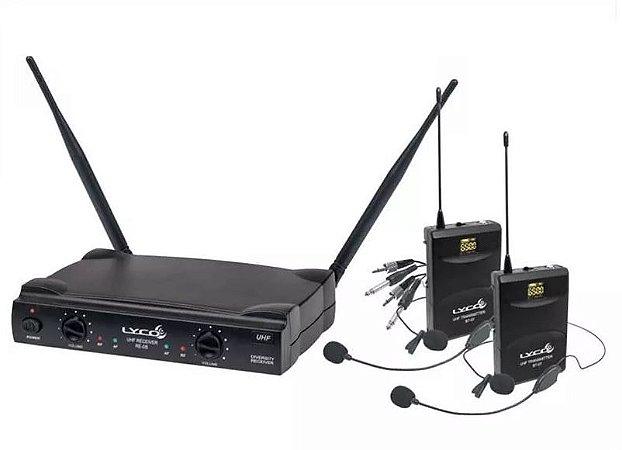 Microfone Lyco UH-08hlihli Headset Duplo + Lapela C/ Fio