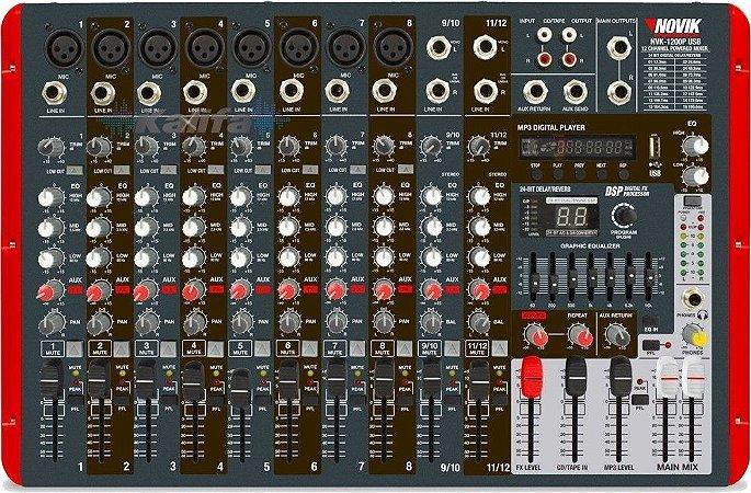 Mesa de Som Amplificada Novik NVK-1200P BT USB 600W