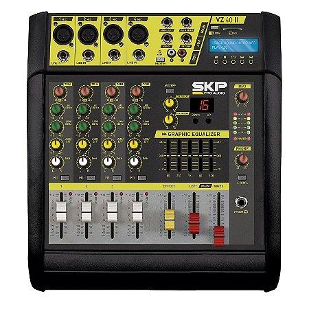Mesa de Som Amplificada SKP VZ-40 II Mp3 Bivolt 1600W 4 Canais