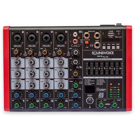 Mesa de Som Soundvoice MC6 Plus EUX ,6 Canais, Bluetooth