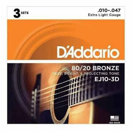 Kit Encordoamento Violão D`Addario Ej-10 010-047 com 3