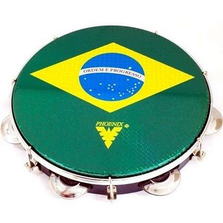 "Pandeiro Phoenix Madeira 10"" Tarraxa Dupla Brasil"