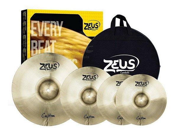 """Set Prato Zeus Custom Set C 14"""" 16"""" 20"""" Com Bag"""