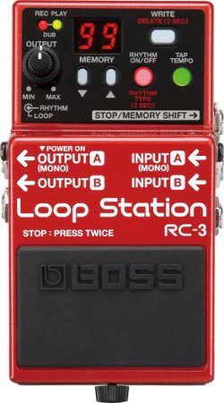 Pedal Guitarra Boss RC-3 Loop Station Kit + Fonte D'addário + Cabo Pedal + Cabo P10 3M