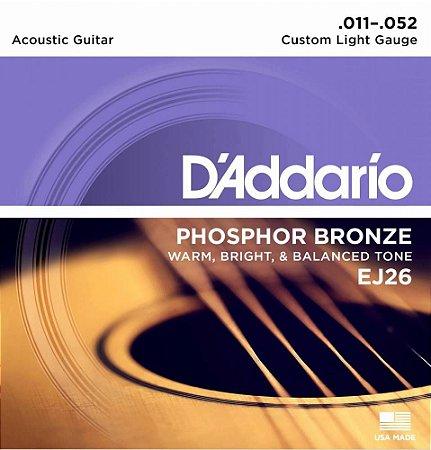Encordoamento Violão D'Addario EJ26 Custom Light 11-52