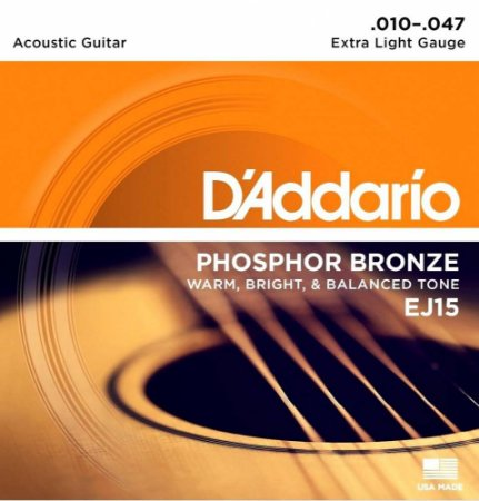 Encordoamento Violão D'Addario EJ15 Extra Light 10-47